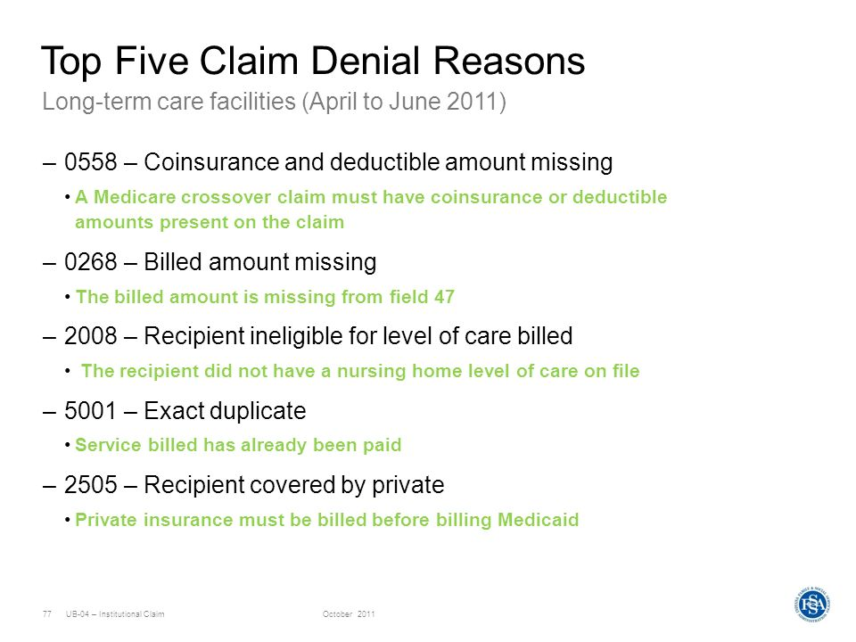 UB-04 – Institutional ClaimOctober 201177 Long-term care facilities (April to June 2011) Top Five Claim Denial Reasons –0558 – Coinsurance and deducti