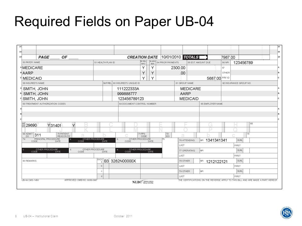 UB-04 – Institutional ClaimOctober 20118 Required Fields on Paper UB-04