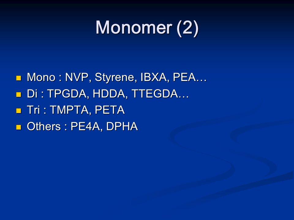 Monomer (2) Mono : NVP, Styrene, IBXA, PEA… Di : TPGDA, HDDA, TTEGDA… Tri : TMPTA, PETA Others : PE4A, DPHA