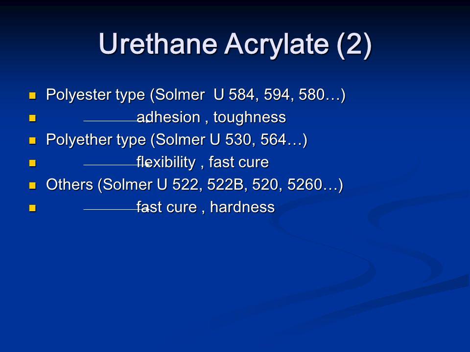 Urethane Acrylate (2) Polyester type (Solmer U 584, 594, 580…) Polyester type (Solmer U 584, 594, 580…) adhesion, toughness adhesion, toughness Polyet