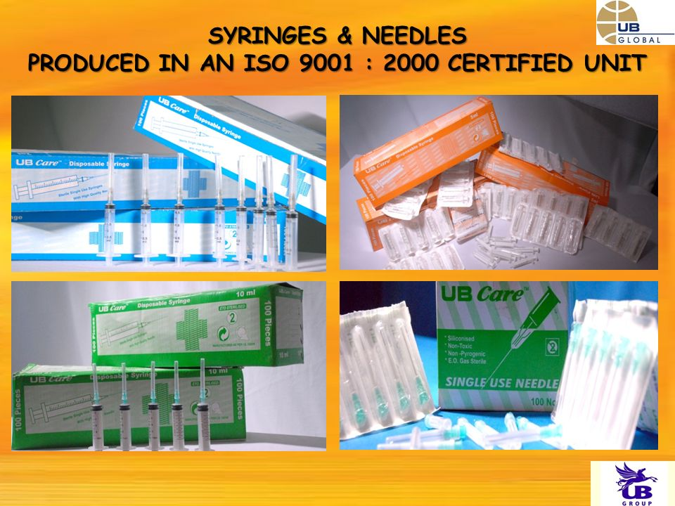 SYRINGES & NEEDLES PRODUCED IN AN ISO 9001 : 2000 CERTIFIED UNIT