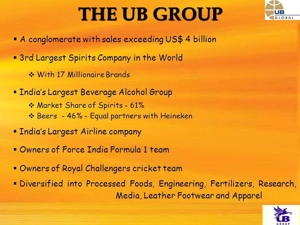 THE UB GROUP A conglomerate with sales exceeding US$ 4 billion 3rd Largest Spirits Company in the World With 17 Millionaire Brands Indias Largest Beverage Alcohol Group Market Share of Spirits - 61% Beers - 46% - Equal partners with Heineken Indias Largest Airline company Owners of Force India Formula 1 team Owners of Royal Challengers cricket team Diversified into Processed Foods, Engineering, Fertilizers, Research, Media, Leather Footwear and Apparel