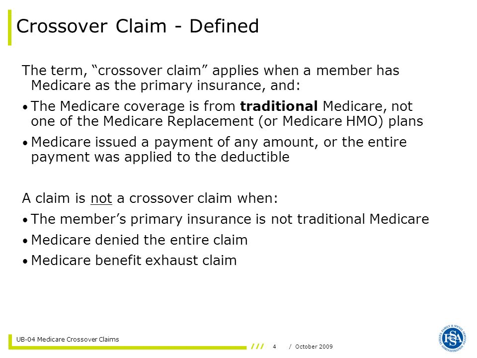 15/ October 2009 UB-04 Medicare Crossover Claims Coordination of Benefits