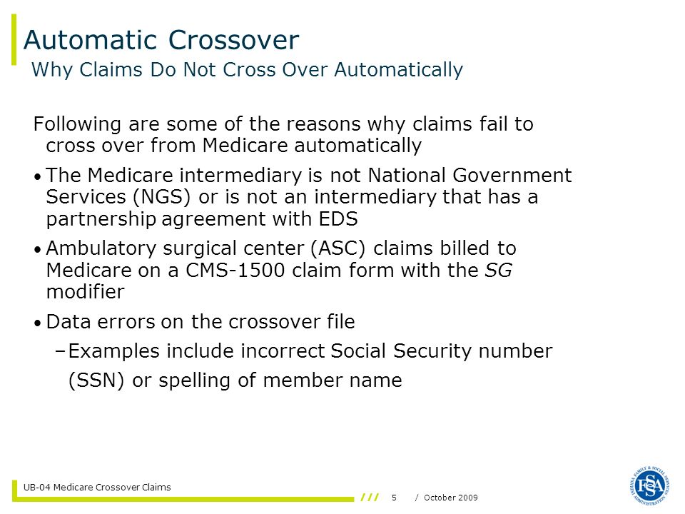 16/ October 2009 UB-04 Medicare Crossover Claims Helpful Tools IHCP Web site at www.indianamedicaid.com www.indianamedicaid.com IHCP Provider Manual, Chapter 8, Section 2 (Web, CD-ROM, or paper) Customer Assistance –1-800-577-1278, or –(317) 655-3240 in the Indianapolis local area Written Correspondence –P.O.