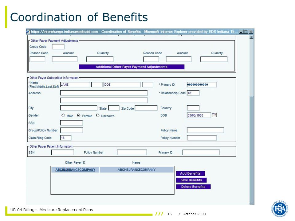 UB-04 Billing – Medicare Replacement Plans 15/ October 2009 Coordination of Benefits