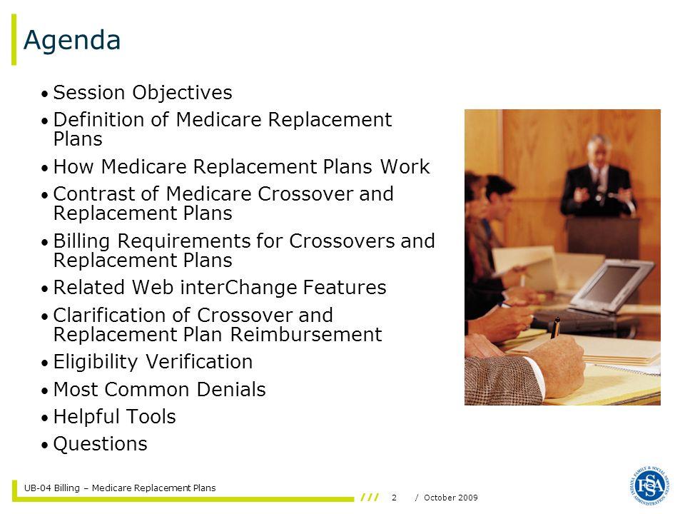 UB-04 Billing – Medicare Replacement Plans 13/ October 2009 Institutional Claim