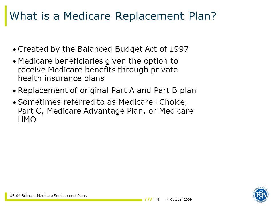UB-04 Billing – Medicare Replacement Plans 15/ October 2009 Coordination of Benefits