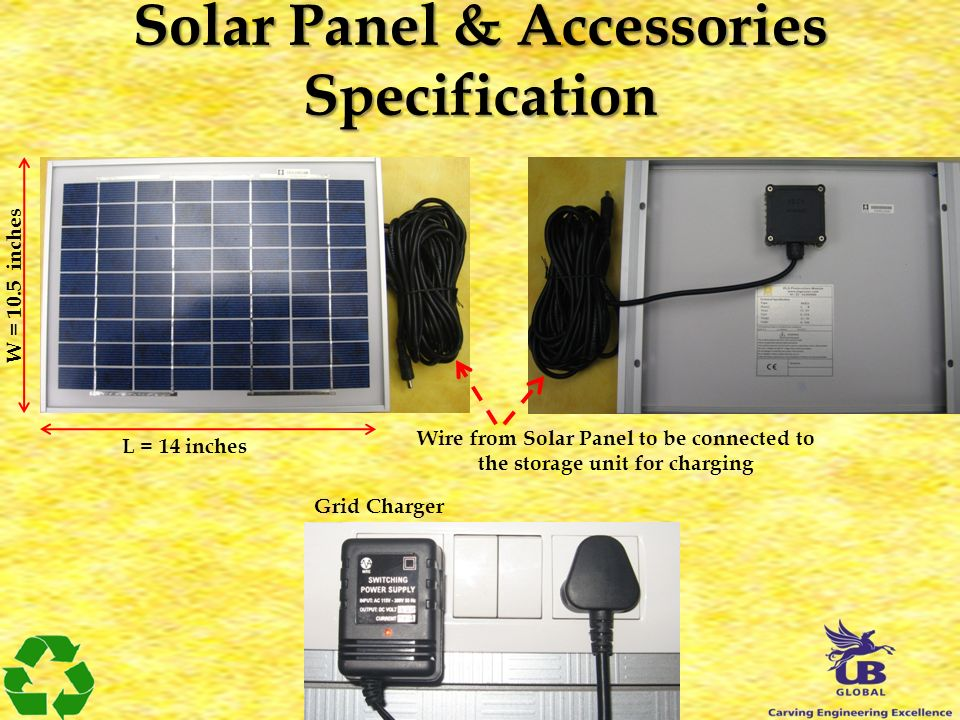 Solar Panel & Accessories Specification L = 14 inches W = 10.5 inches Grid Charger Wire from Solar Panel to be connected to the storage unit for charg