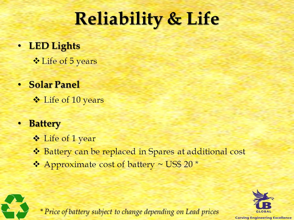 Reliability & Life LED Lights LED Lights Life of 5 years Solar Panel Solar Panel Life of 10 years Battery Battery Life of 1 year Battery can be replac