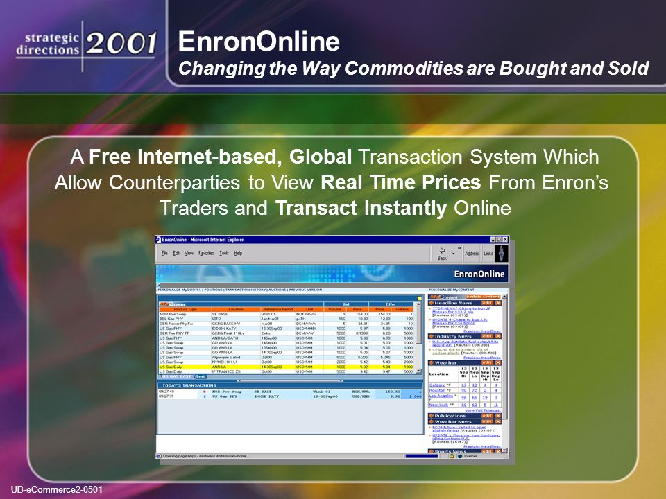UB-eCommerce2-0501 A Free Internet-based, Global Transaction System Which Allow Counterparties to View Real Time Prices From Enrons Traders and Transact Instantly Online EnronOnline Changing the Way Commodities are Bought and Sold