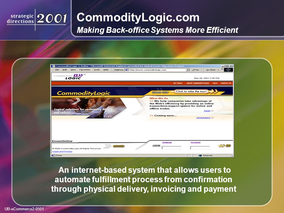 UB-eCommerce2-0501 CommodityLogic.com Making Back-office Systems More Efficient An internet-based system that allows users to automate fulfillment process from confirmation through physical delivery, invoicing and payment