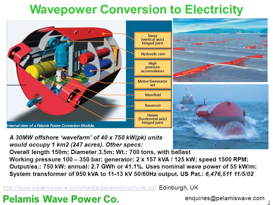 2 Wavepower Conversion to Electricity enquiries@pelamiswave.com Pelamis Wave Power Co.