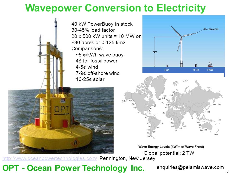 3 Wavepower Conversion to Electricity enquiries@pelamiswave.com OPT - Ocean Power Technology Inc. http://www.oceanpowertechnologies.com/http://www.oce