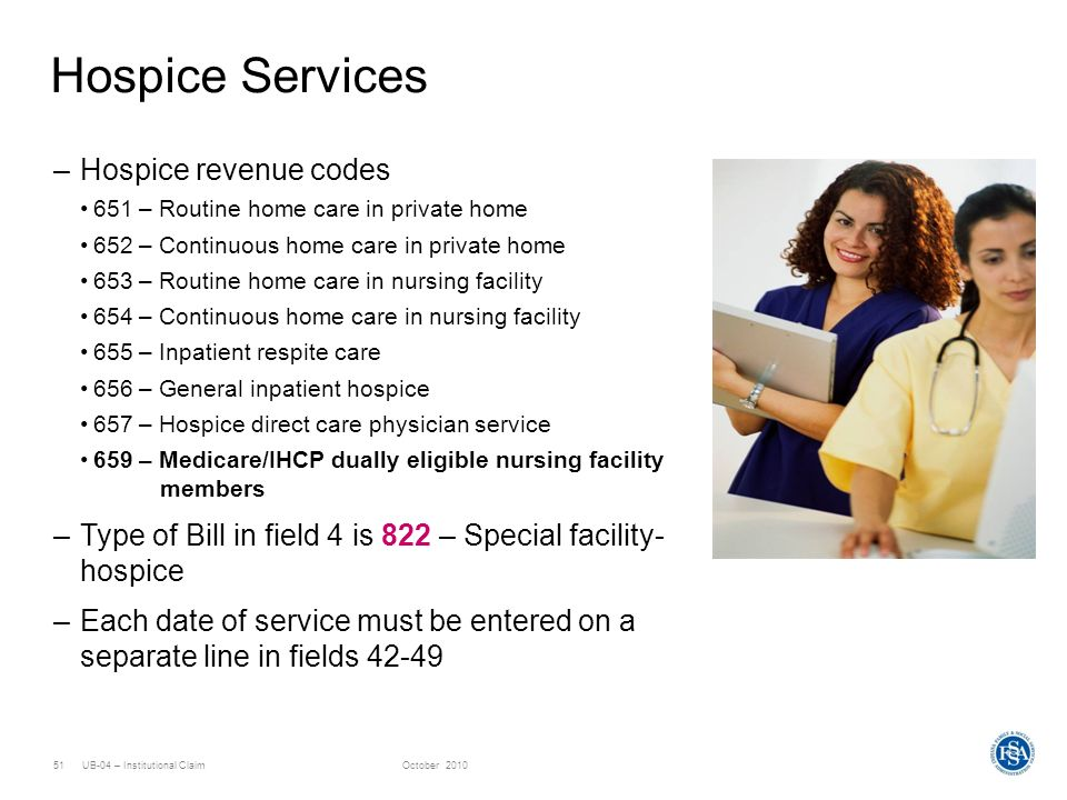 UB-04 – Institutional ClaimOctober 201051 Hospice Services –Hospice revenue codes 651 – Routine home care in private home 652 – Continuous home care i