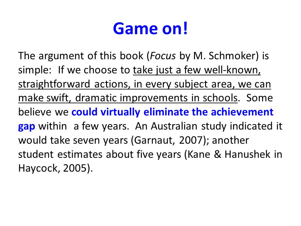 Game on. The argument of this book (Focus by M.