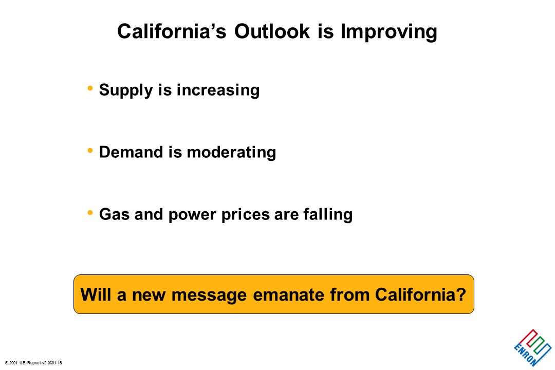 © 2001 UB-Repsol-v2-0601-15 Supply is increasing Demand is moderating Gas and power prices are falling Californias Outlook is Improving Will a new mes