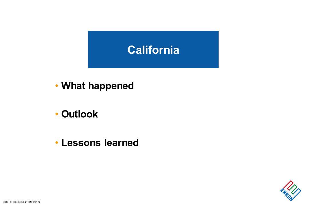 © UB-SK-DEREGULATION-0701-12 What happened Outlook Lessons learned California