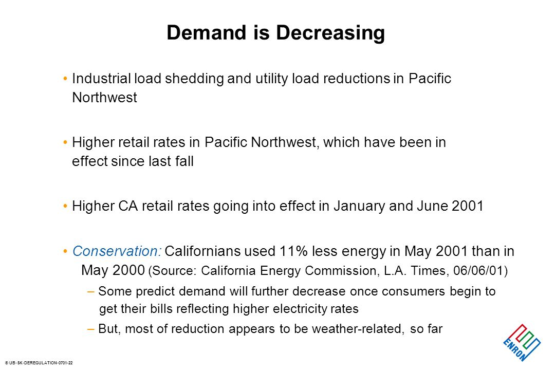 © UB-SK-DEREGULATION-0701-22 Demand is Decreasing Industrial load shedding and utility load reductions in Pacific Northwest Higher retail rates in Pac