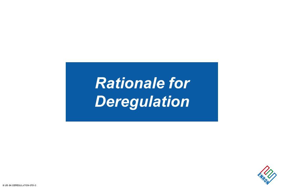 © UB-SK-DEREGULATION-0701-3 Rationale for Deregulation
