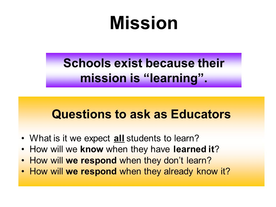 Schools exist because their mission is learning. Questions to ask as Educators What is it we expect all students to learn? How will we know when they