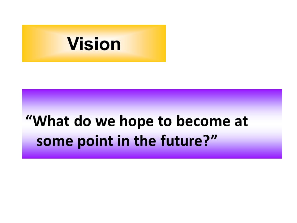 What do we hope to become at some point in the future? Vision