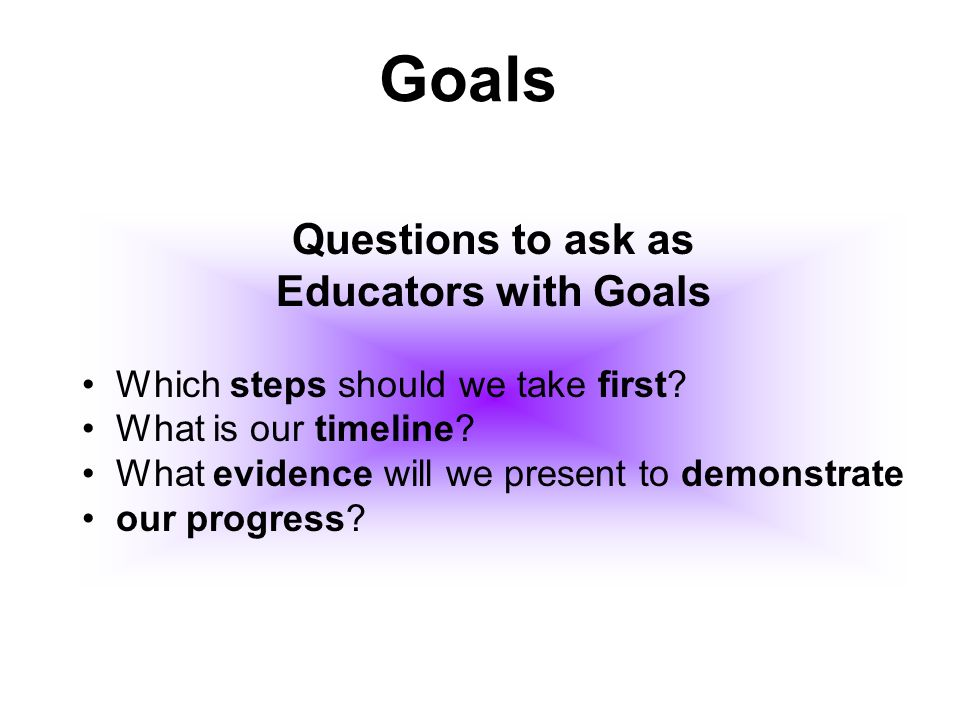 Questions to ask as Educators with Goals Which steps should we take first? What is our timeline? What evidence will we present to demonstrate our prog