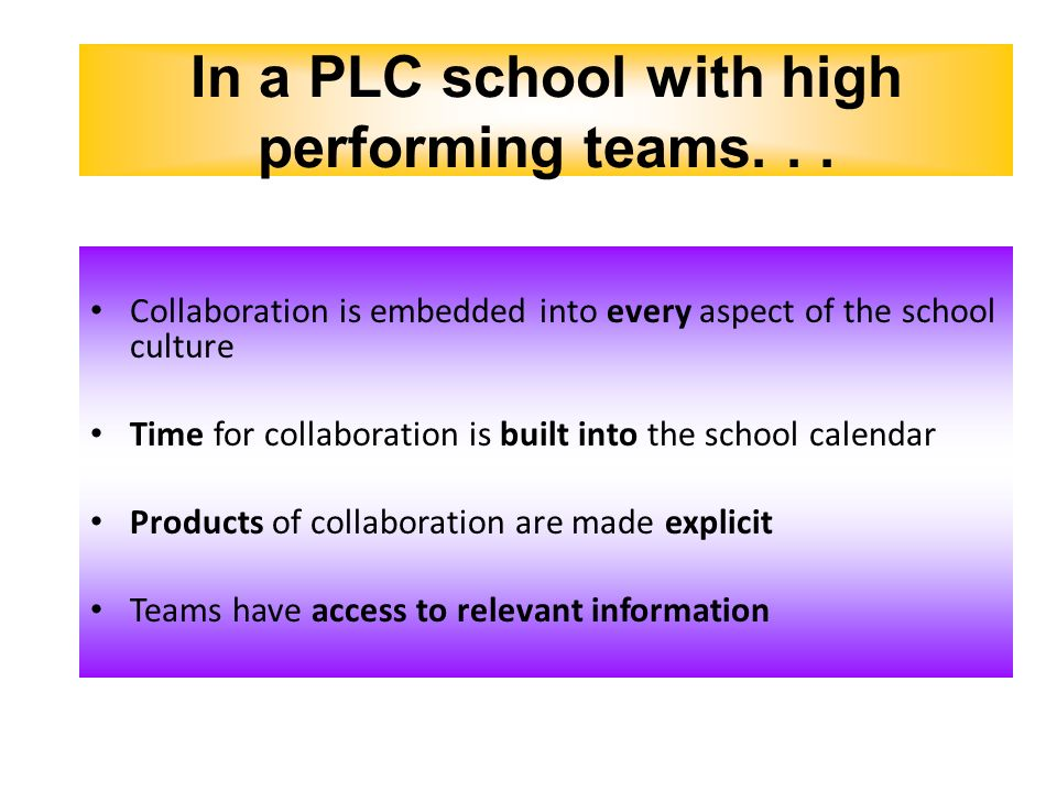 Collaboration is embedded into every aspect of the school culture Time for collaboration is built into the school calendar Products of collaboration a