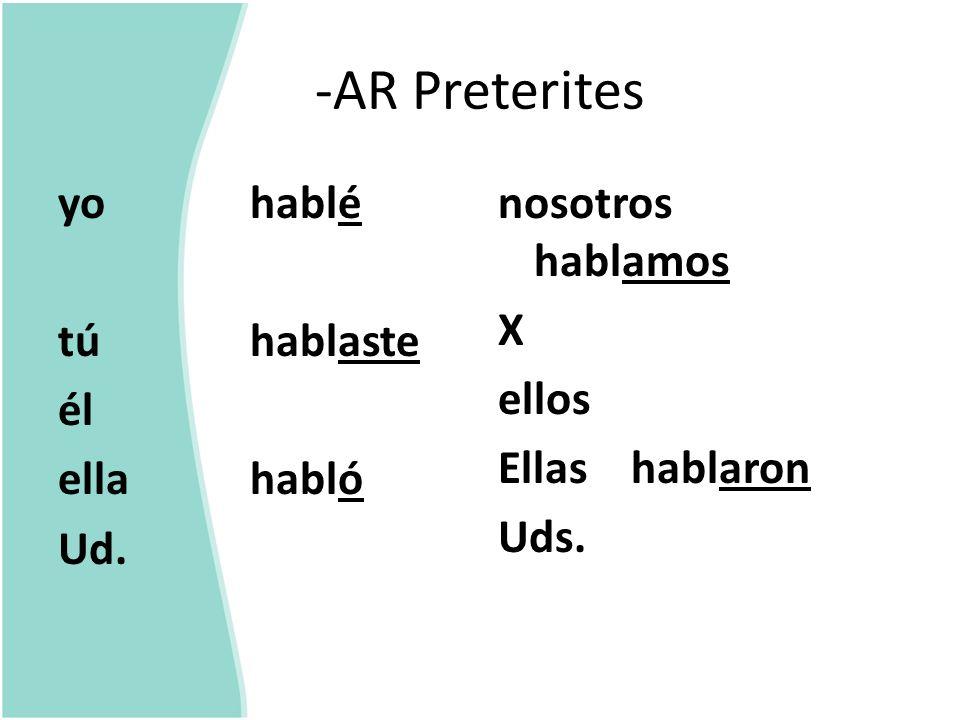 -AR Preterites é aste ó amos asteis aron