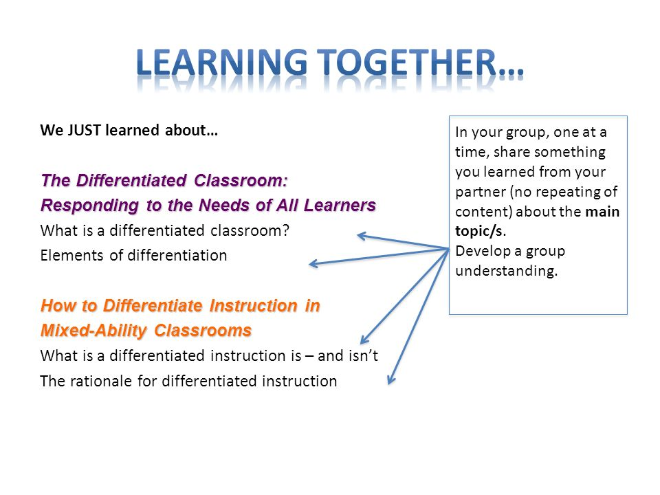 We JUST learned about… The Differentiated Classroom: Responding to the Needs of All Learners What is a differentiated classroom.