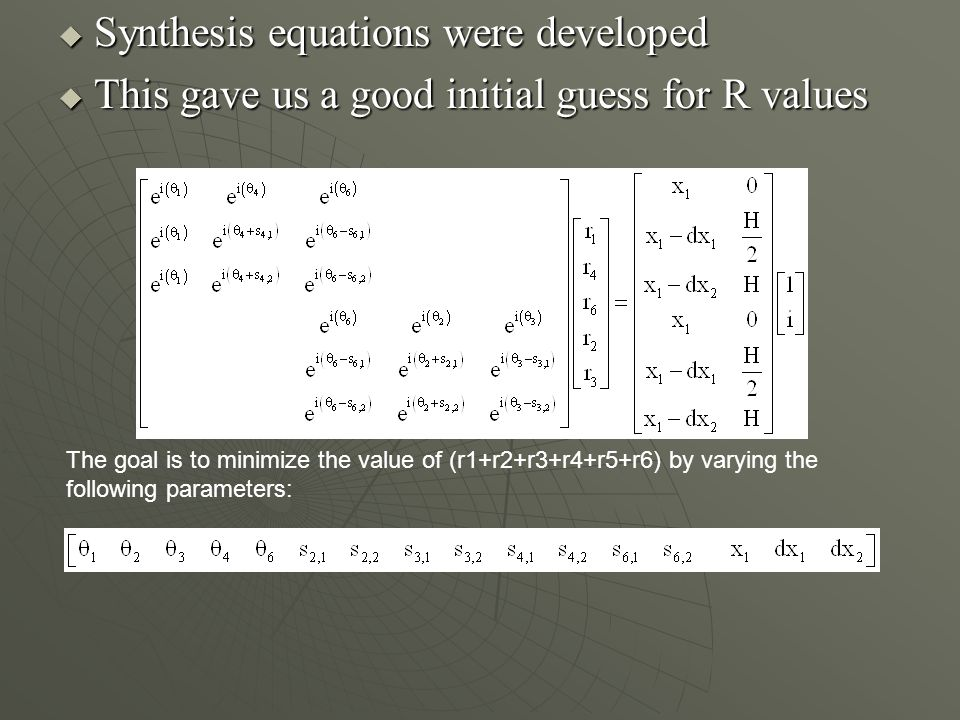 Synthesis equations were developed Synthesis equations were developed This gave us a good initial guess for R values This gave us a good initial guess for R values The goal is to minimize the value of (r1+r2+r3+r4+r5+r6) by varying the following parameters: