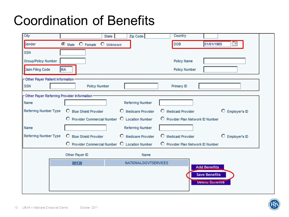 UB-04 – Medicare Crossover ClaimsOctober 201113 Coordination of Benefits
