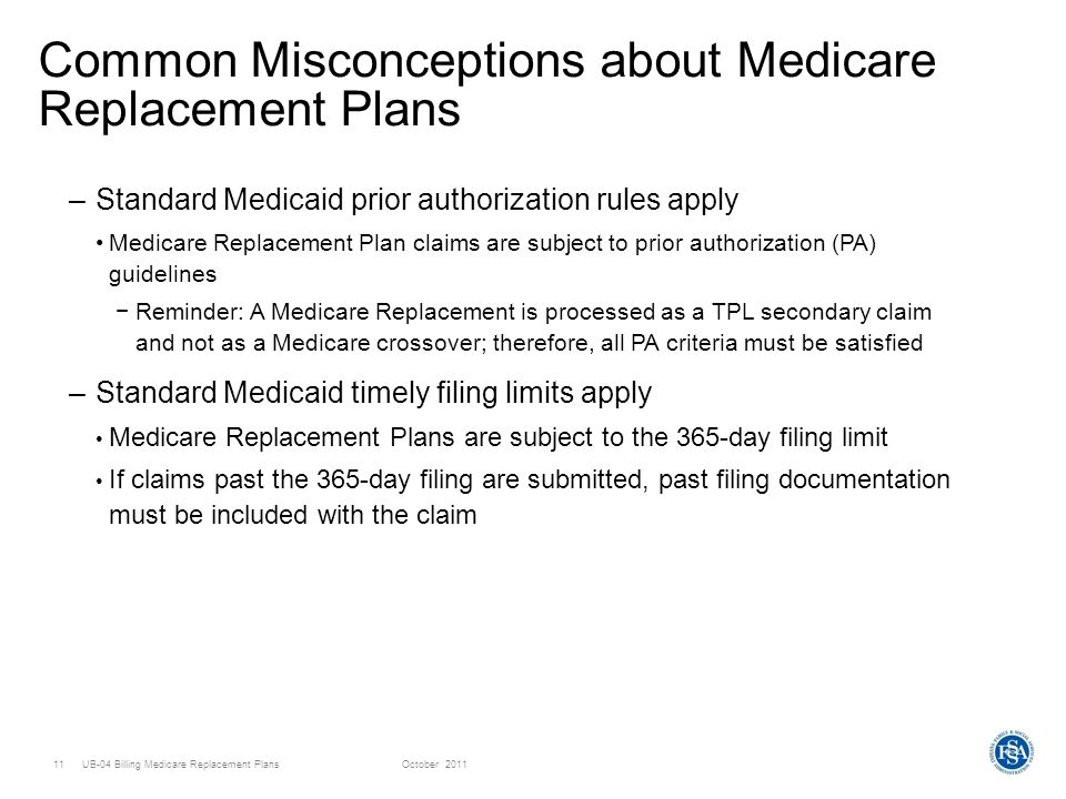 UB-04 Billing Medicare Replacement PlansOctober Common Misconceptions about Medicare Replacement Plans –Standard Medicaid prior authorization rules apply Medicare Replacement Plan claims are subject to prior authorization (PA) guidelines Reminder: A Medicare Replacement is processed as a TPL secondary claim and not as a Medicare crossover; therefore, all PA criteria must be satisfied –Standard Medicaid timely filing limits apply Medicare Replacement Plans are subject to the 365-day filing limit If claims past the 365-day filing are submitted, past filing documentation must be included with the claim
