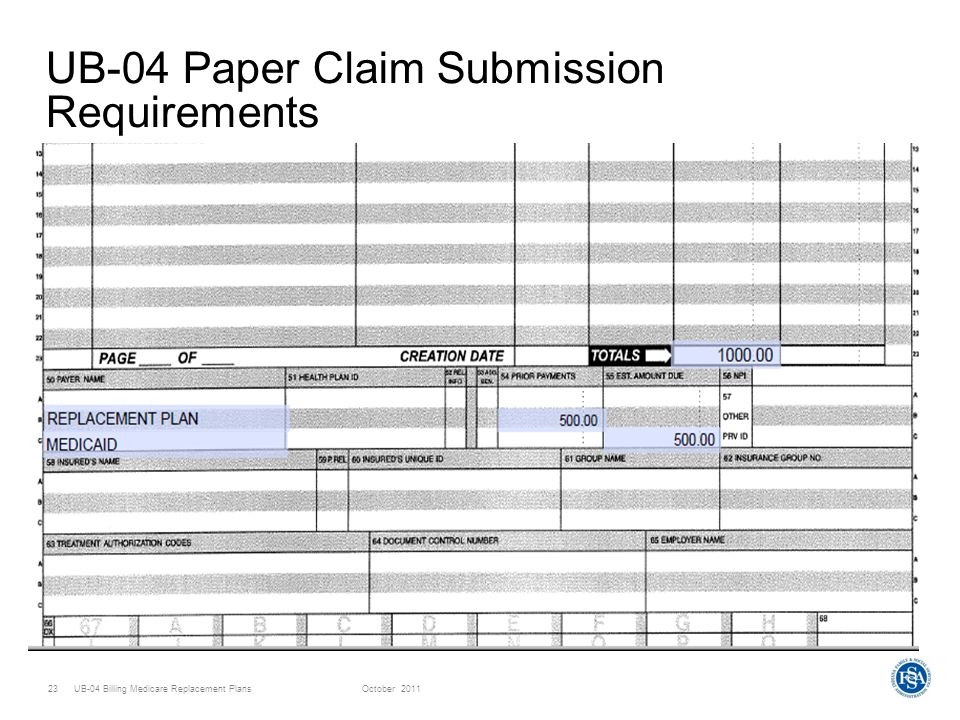UB-04 Billing Medicare Replacement PlansOctober UB-04 Paper Claim Submission Requirements