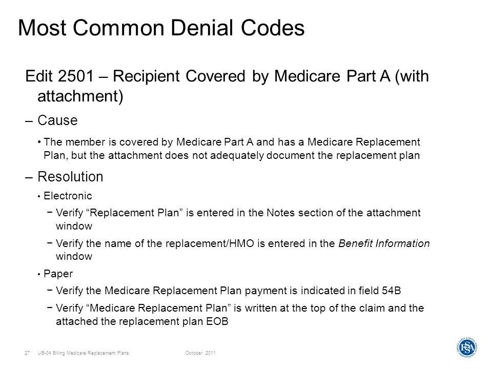 UB-04 Billing Medicare Replacement PlansOctober Most Common Denial Codes Edit 2501 – Recipient Covered by Medicare Part A (with attachment) –Cause The member is covered by Medicare Part A and has a Medicare Replacement Plan, but the attachment does not adequately document the replacement plan –Resolution Electronic Verify Replacement Plan is entered in the Notes section of the attachment window Verify the name of the replacement/HMO is entered in the Benefit Information window Paper Verify the Medicare Replacement Plan payment is indicated in field 54B Verify Medicare Replacement Plan is written at the top of the claim and the attached the replacement plan EOB