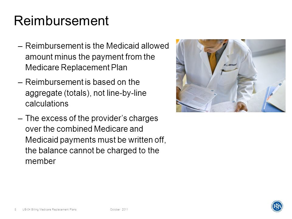 UB-04 Billing Medicare Replacement PlansOctober 20119 Eligibility Verification –For a member with a Medicare Replacement Plan, the Web interChange Eligibility Inquiry screen will indicate that the member has Medicare Part A and Medicare Part B –No information will appear about the Medicare Replacement Plan in the Third Party Carrier section