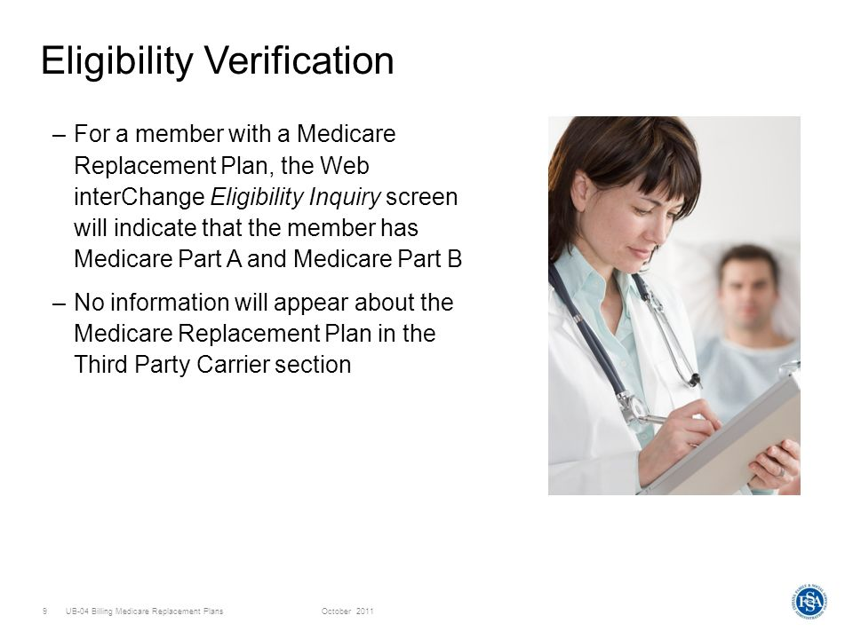 UB-04 Billing Medicare Replacement PlansOctober Eligibility Verification –For a member with a Medicare Replacement Plan, the Web interChange Eligibility Inquiry screen will indicate that the member has Medicare Part A and Medicare Part B –No information will appear about the Medicare Replacement Plan in the Third Party Carrier section