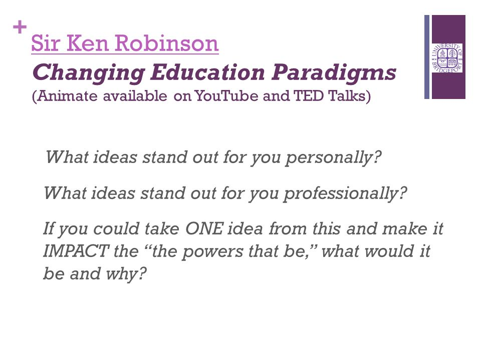 + Sir Ken Robinson Sir Ken Robinson Changing Education Paradigms (Animate available on YouTube and TED Talks) What ideas stand out for you personally.