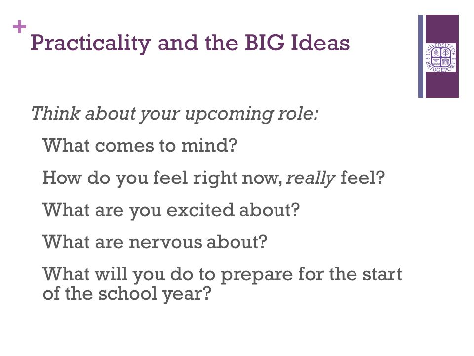 + Practicality and the BIG Ideas Think about your upcoming role: What comes to mind.