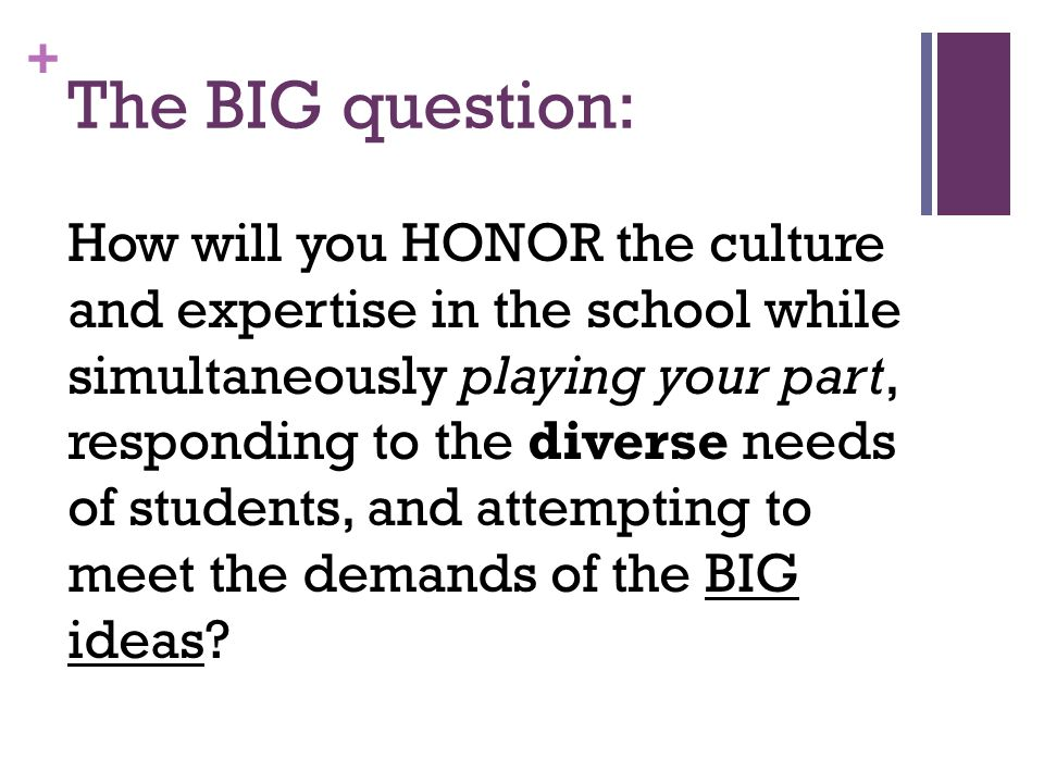 + The BIG question: How will you HONOR the culture and expertise in the school while simultaneously playing your part, responding to the diverse needs of students, and attempting to meet the demands of the BIG ideas