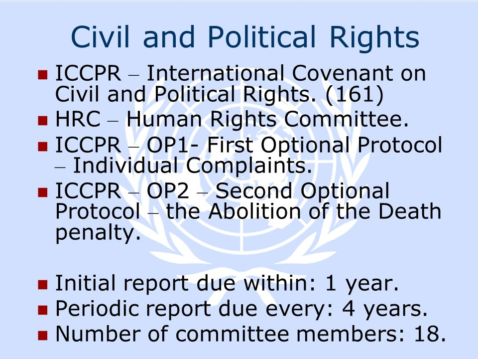Civil and Political Rights ICCPR – International Covenant on Civil and Political Rights. (161) HRC – Human Rights Committee. ICCPR – OP1- First Option