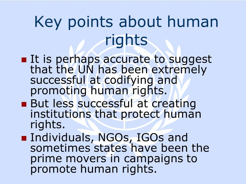 Key points about human rights It is perhaps accurate to suggest that the UN has been extremely successful at codifying and promoting human rights. But
