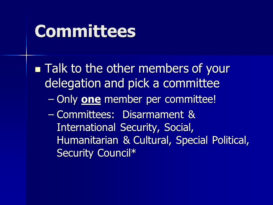 Committees Talk to the other members of your delegation and pick a committee Talk to the other members of your delegation and pick a committee –Only one member per committee.