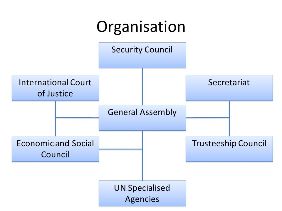 Organisation General Assembly Security Council Secretariat Trusteeship Council International Court of Justice Economic and Social Council UN Specialised Agencies