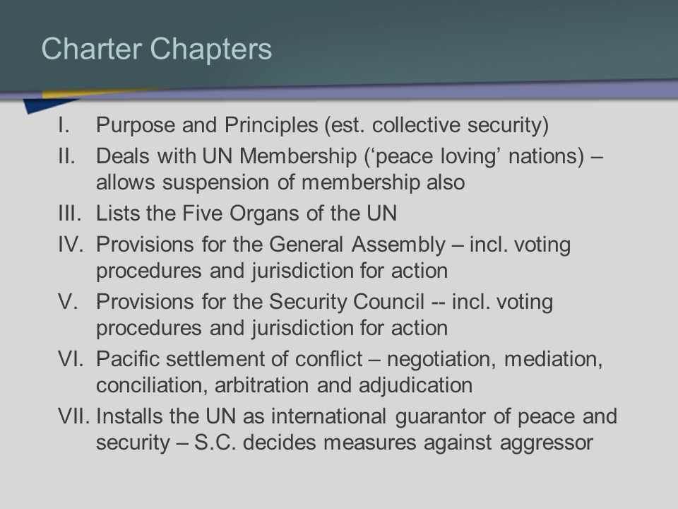 Charter Chapters I.Purpose and Principles (est.