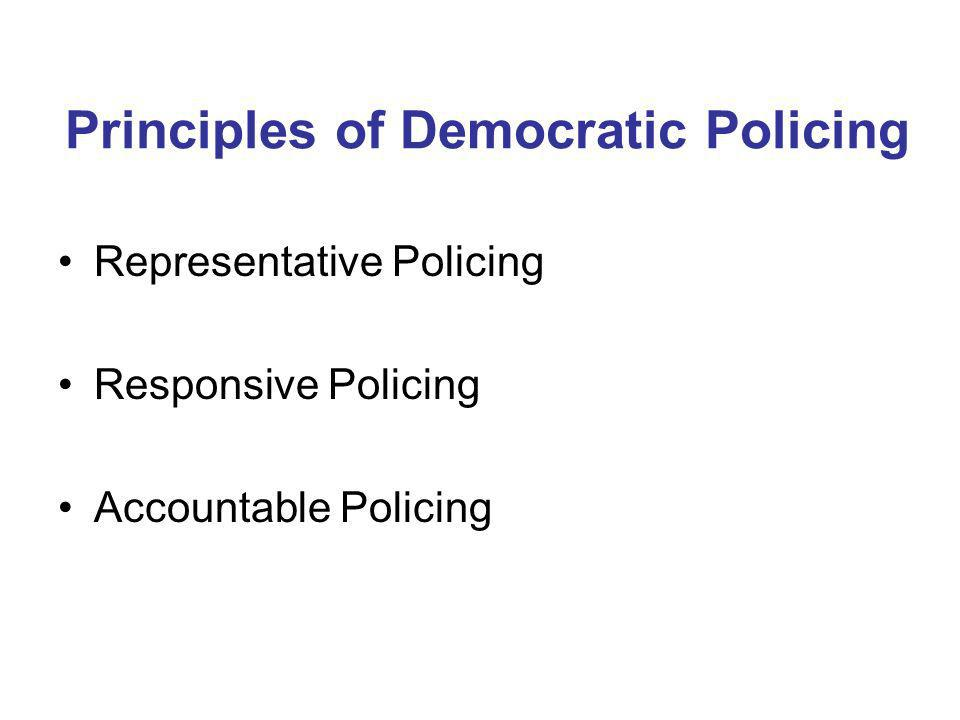 Principles of Democratic Policing Representative Policing Responsive Policing Accountable Policing