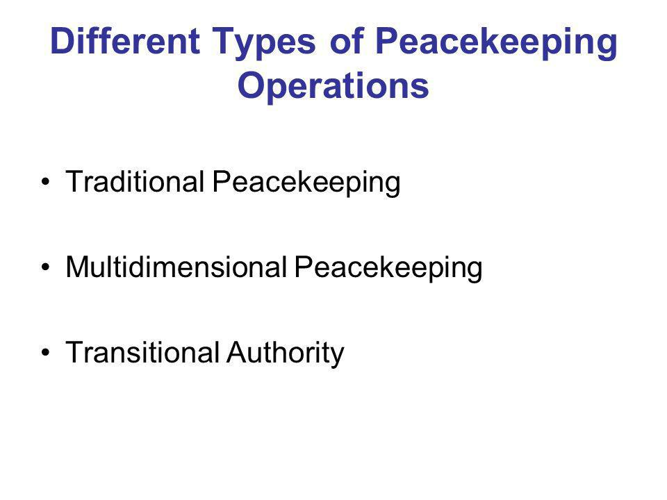 Different Types of Peacekeeping Operations Traditional Peacekeeping Multidimensional Peacekeeping Transitional Authority