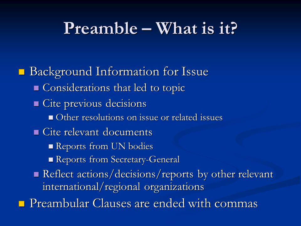 Preamble – What is it.