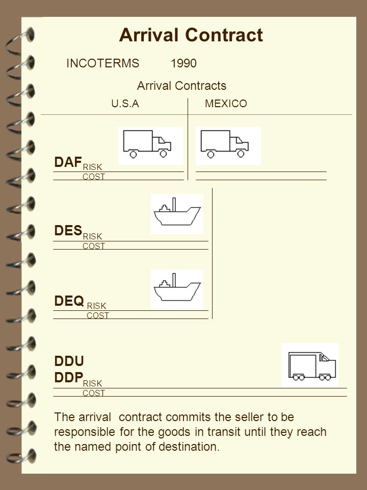 Arrival Contract INCOTERMS 1990 Arrival Contracts U.S.AMEXICO RISK COST The arrival contract commits the seller to be responsible for the goods in tra