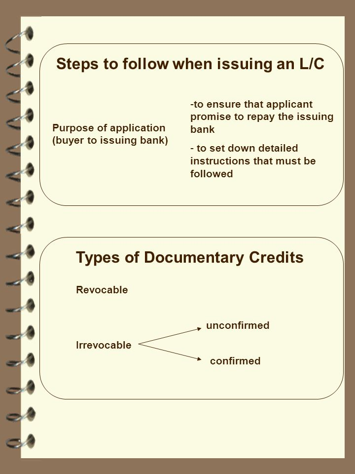 Steps to follow when issuing an L/C Purpose of application (buyer to issuing bank) -to ensure that applicant promise to repay the issuing bank - to se