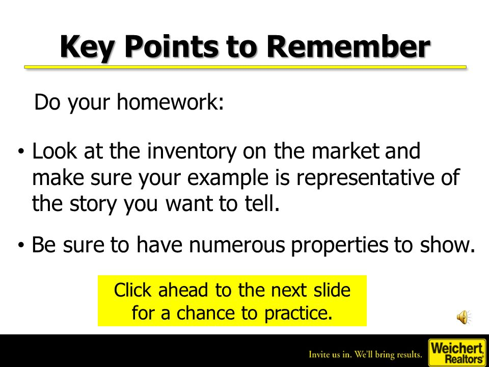 Key Points to Remember Keep in mind…this approach only works for people moving into a higher-value home in a market thats declining at the same rate or greater.